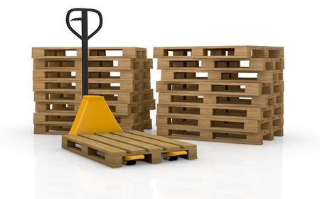 palet: una transpaleta o carretilla elevadora con dos pilas de palets en el fondo (render 3d)