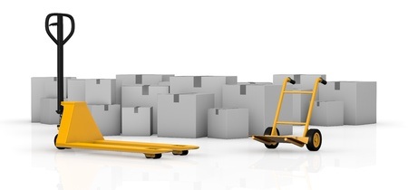 one pallet truck and a hand truck with many cartons on background (3d render) photo
