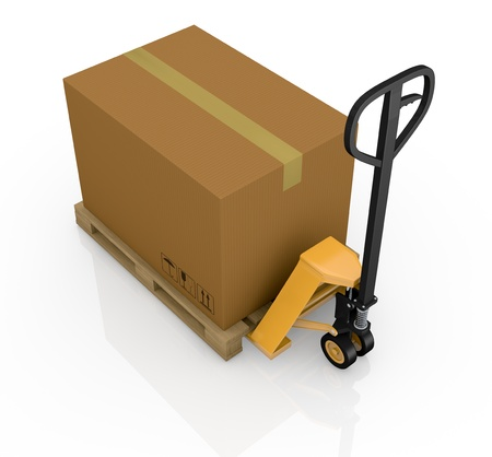 one pallet truck or forklift with a carton box (3d render) Stock Photo - 16185968