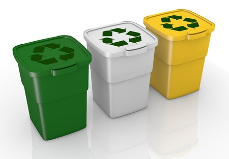 garbage can: one row of three recycling bins in different colours (3d render)