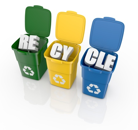 paper basket: top view of three open recycling bins with the text: recycle (3d render) Stock Photo