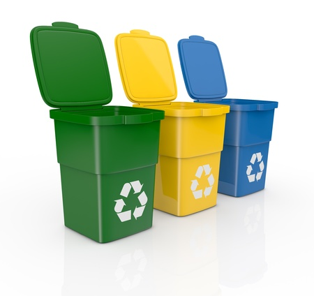 garbage bin: one row of three recycling bins open, in different colours (3d render)