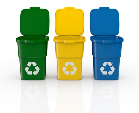 recycle paper: one row of three recycling bins open, in different colours (3d render)