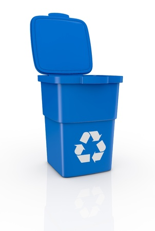 one recycling bin open, with recycling symbol (3d render) photo