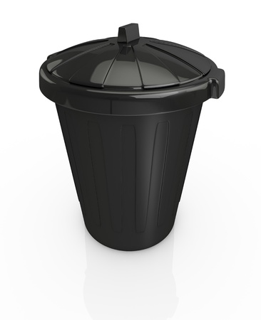 top view of a black recycling bin (3d render) photo