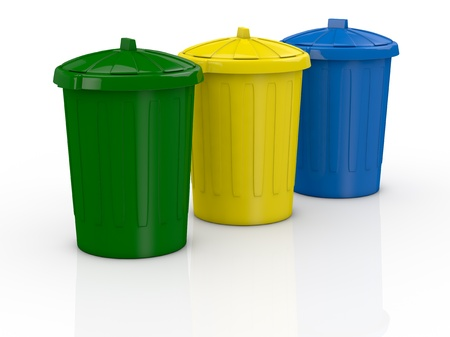 rubbish bin: one row of three recycling bins in different colours (3d render)