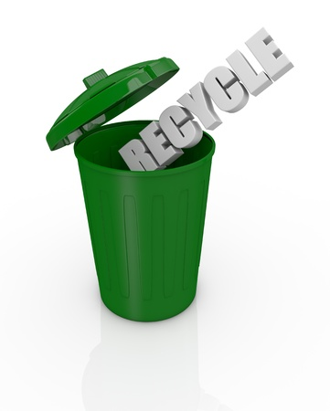 waste basket: top view of an open recycling bin with the text: recycle (3d render)