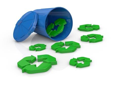 recycle bin: un reciclaje bin con algunos símbolos de reciclaje alrededor de ella (3d render) Foto de archivo