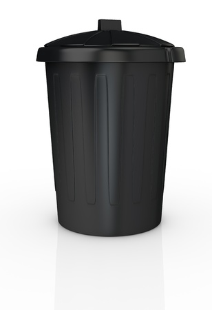 front view of a black recycling bin (3d render) photo