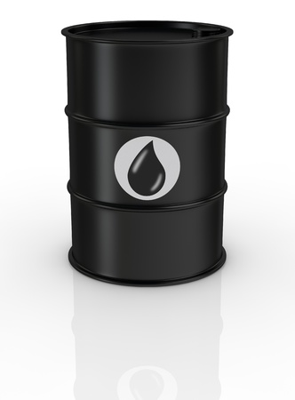 metal barrel: one black barrel with the oil symbol (3d render) Stock Photo