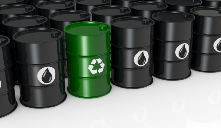 black barrels with one green and with the recycling symbol, concept of alternative energy  3d render  photo