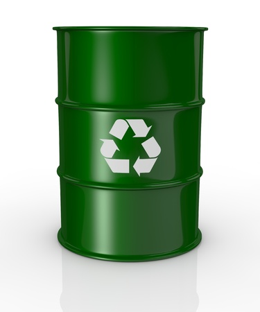 one green barrel with the recycling symbol, concept of alternative energy  3d render  photo