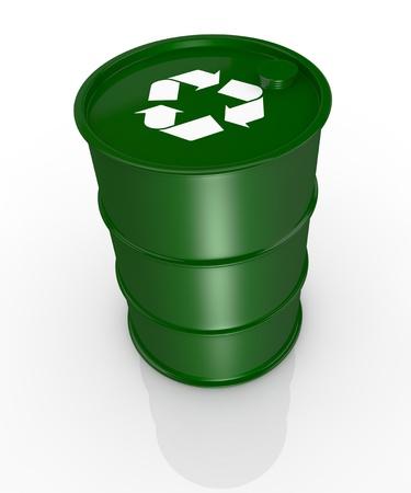 tanque de combustible: vista desde arriba de un barril verde con el símbolo de reciclaje, concepto de energía alternativa render 3d
