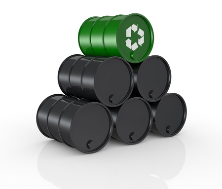 view of a stack of black barrels with one green and with the recycling symbol, concept of alternative energy  3d render  photo