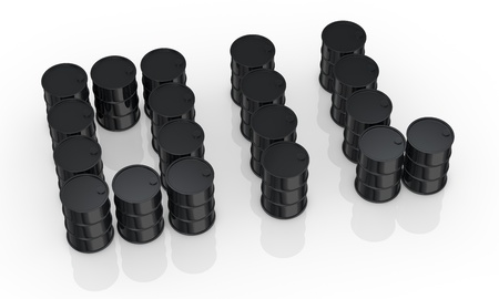 the word oil made with black barrels  3d render  photo