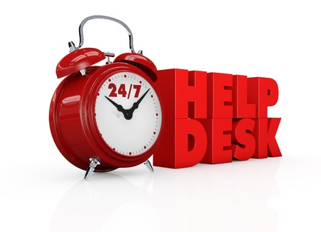 one vintage alarm clock with text  24 7 help desk, concept of always available  3d render  photo