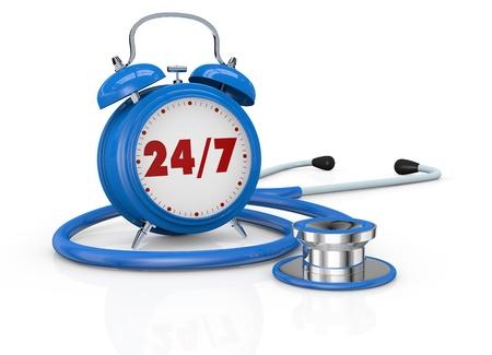 test deadline: one vintage alarm clock with a stethoscope (3d render)