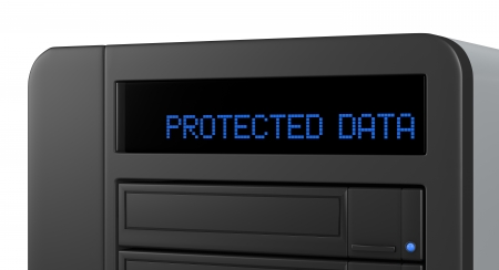 storage disk: close up of a panel of a network data storage with the text: protected data (3d render) Stock Photo