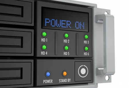 redundant: close up of a server rack panel, powered on (3d render)