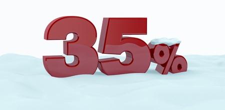 thirty five: il numero 35 con il simbolo di percentuale sulla neve (rendering 3d)