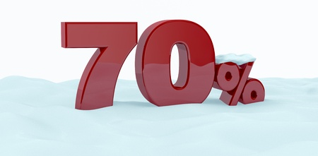 the number seventy with the percent symbol over the snow (3d render) photo