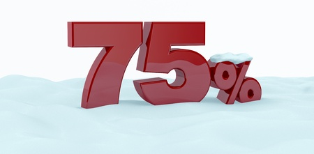 the number seventy five with the percent symbol over the snow (3d render) photo