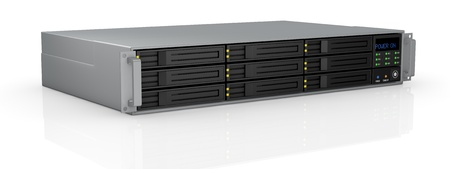 powered: one server rack with nine hd slots, powered on (3d render) Stock Photo