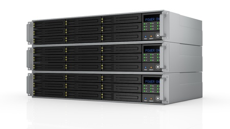 raid: one pile of three server racks with nine hd slots, powered on (3d render)