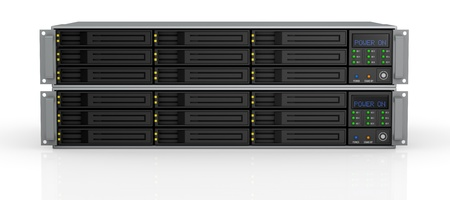 front view of two server racks with nine hd slots, powered on (3d render)