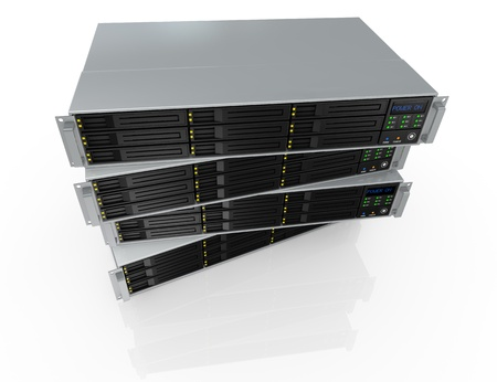 redundant: top view of four server racks with nine hd slots, powered on (3d render)