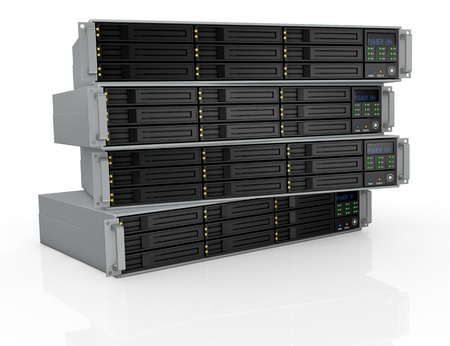 front view of four server racks with nine hd slots, powered on (3d render) photo