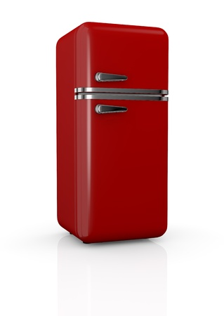 front view of a red vintage fridge (3d render) photo