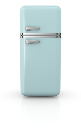 front view of a vintage fridge (3d render) photo