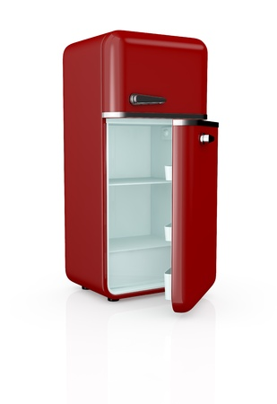 front view of a red vintage fridge, the door is open and the fridge is empty (3d render) photo