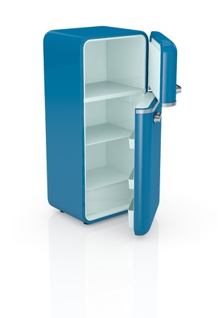 one blue vintage fridge, the doors are open and the fridge is empty (3d render)