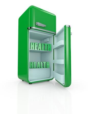 vertical fridge: one vintage fridge, with the text: health, inside (3d render)