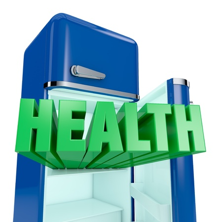life is good: close up view of a vintage fridge, with the text: health, that goes out (3d render) Stock Photo