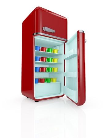 refrigerador: una nevera de cosecha llena de tazas de yogur coloreadas (3d render) Foto de archivo