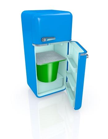 vertical fridge: one vintage fridge with a big yogurt cup inside (3d render)