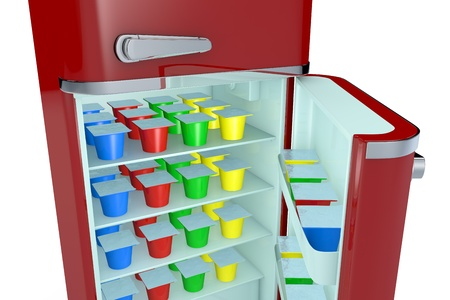 close up view of a vintage fridge full of colored yogurt cups (3d render) Stock Photo - 16644382