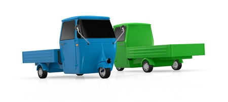 three wheel: two mini trucks with three wheels, in different colors (3d render) Stock Photo