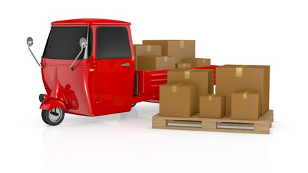 one mini truck with carton boxes on the body (3d render) photo