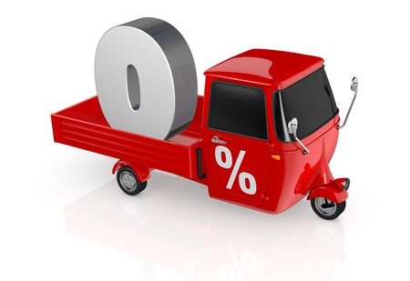 rebate: top view of a mini truck with the number zero on the back and the percent symbol on the door (3d render)