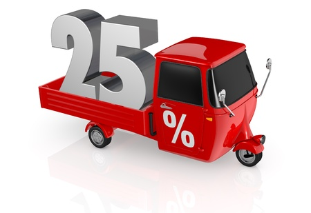 top view of a mini truck with the number twenty five on the back and the percent symbol on the door (3d render) photo