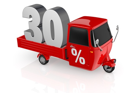 reduce taxes: top view of a mini truck with the number thirty on the back and the percent symbol on the door (3d render) Stock Photo