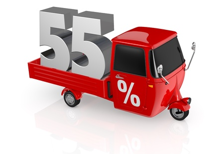 top view of a mini truck with the number fifty five on the back and the percent symbol on the door (3d render) Stock Photo - 16644359