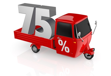 top view of a mini truck with the number seventy five on the back and the percent symbol on the door (3d render) photo