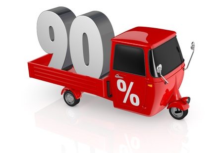 ninety: top view of a mini truck with the number ninety on the back and the percent symbol on the door (3d render) Stock Photo