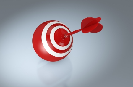 achieve goal: top view of a dart board with a toy dart on the center (3d render)