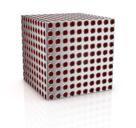 mapped: one cube mapped with a metal grid texture (3d render) Stock Photo